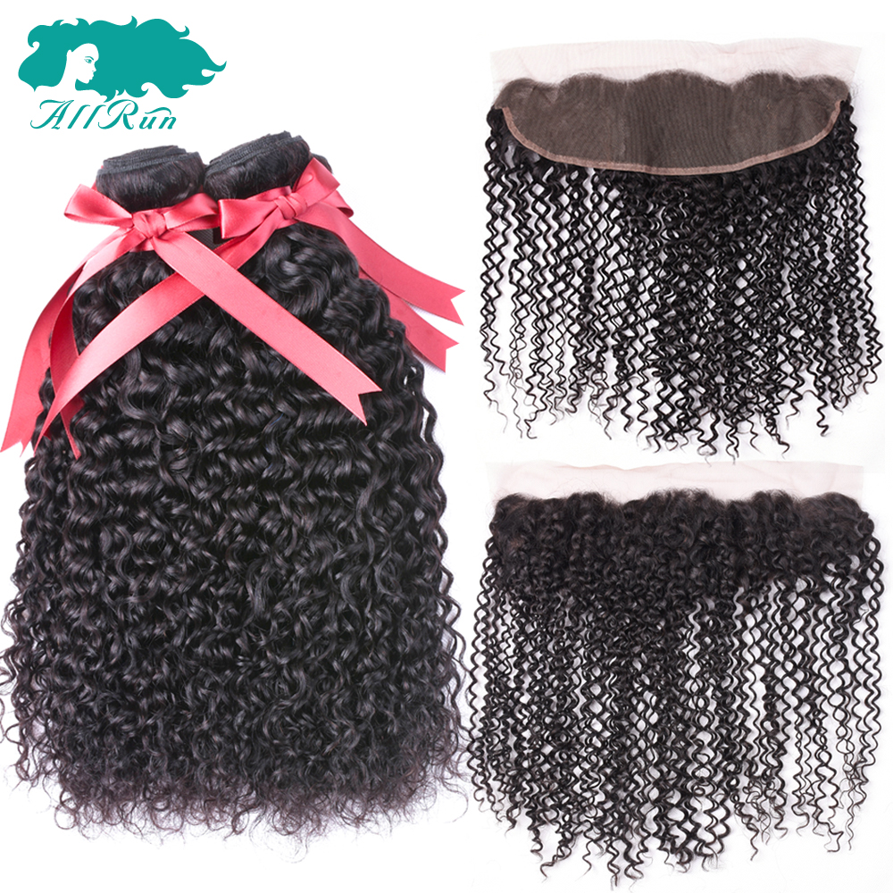 Allrun Malaysian Curly Hair Bundles With Closure Free Part Frontal With 3 Bundles Non Remy Hair 100% Human Hair With Closure