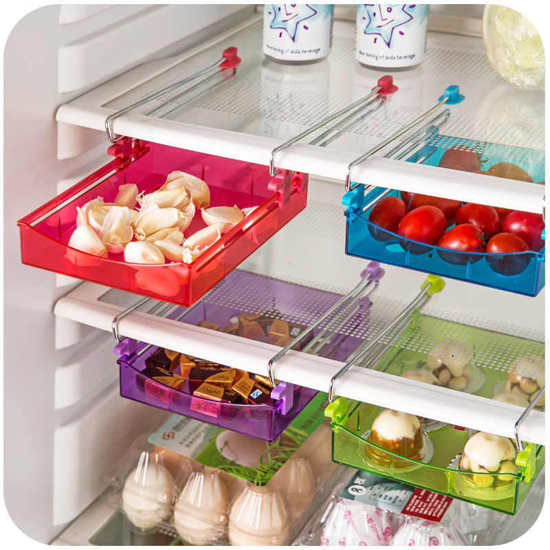 COCODE Storage Boxes Slide Kitchen Fridge Freezer Space Saver Organizer Refrigerator Storage Rack Shelf Holder Drawer DV1373