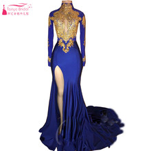 Royal Blue Long Sleeves Mermaid Evening Dresses with Gold Lace Appliques Sexy  High Split Black Girls Prom Vintage Gown ZP052 c72effdb924b