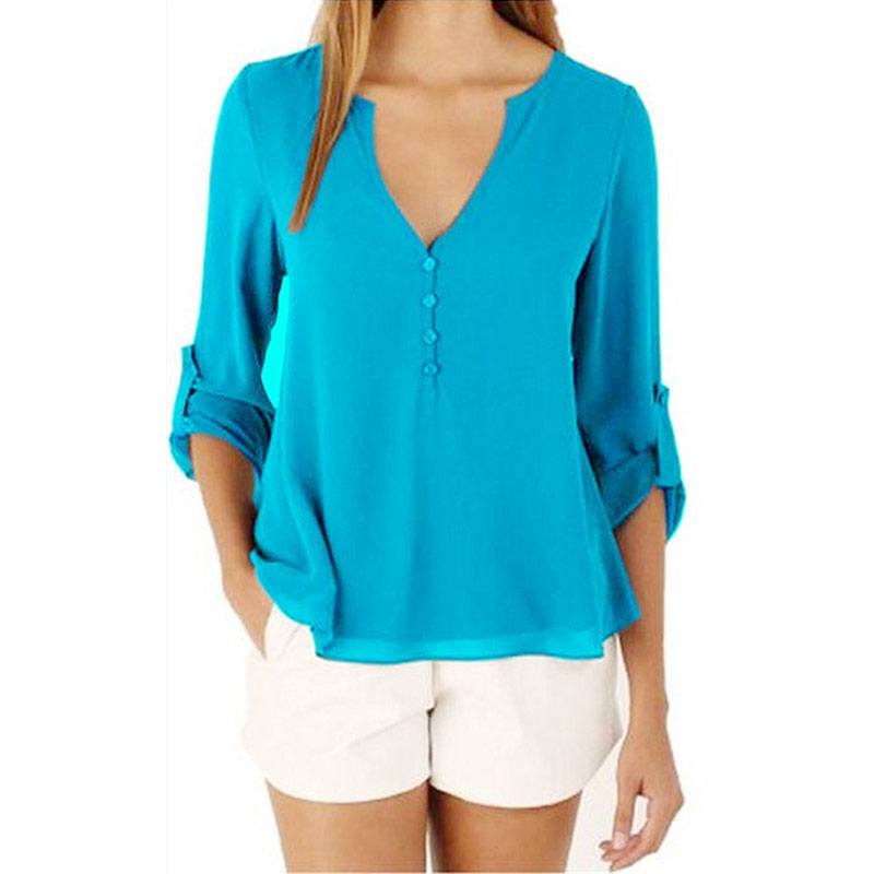 Fashion Brand Blouse Shirt V Neck Sexy Plus Size Cheap Clothes China Blusas Feminina Clothing Summer Women Tops Pullover Blouses 1