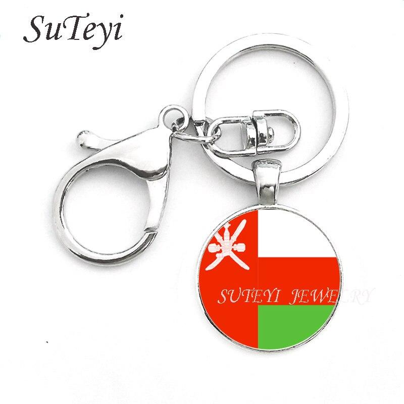 Image 2 - Fashion Oman Sultanate Flag Pendant keychain Azerbaijan and  Pakistan Jewelry Allah gift Key ring Gift for Men World flag  loversfashion keychainkeychain fashionkeychain a