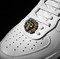 Chaussures Vintage en forme de tête de crâne, boucle de lacet en métal, Style Punk, accessoires