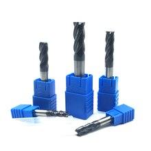 Endmill molinillo de extremo de carburo HRC50, 4 flautas de 4mm, 5mm, 6mm, 8mm, 12mm, acero de tungsteno, cortador de fresado cnc, herramientas de molinillo de extremo