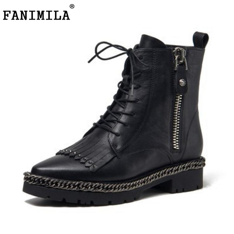 FANIMILA sexy lady real leather high heel boots women cross strap zipper tassel pointed toe thick heel boot soft bota size 34-39 vinlle women boot square low heel pu leather rivets zipper solid ankle boots western style round lady motorcycle boot size 34 43
