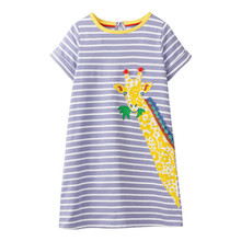 Jumping Meters Applique  Animals Baby Dresses Summer giraffe Girl Clothing cotton Short sleeve stripe princess kids tunic dress