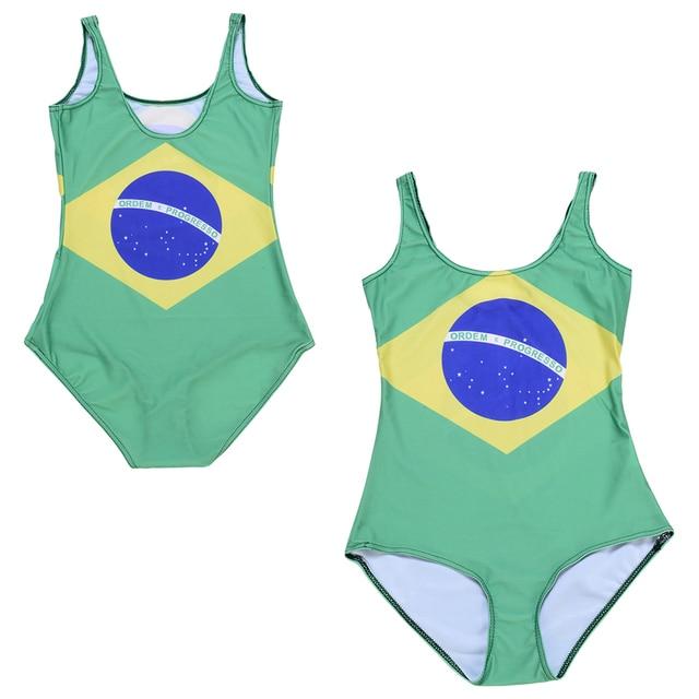 aff56434255 BRASIL LOGO One Piece Swimsuit Female Swimwear Brazilian Flag Women Bathing  Suit Flag Of Brazil Swim Wear Green Yellow Blue
