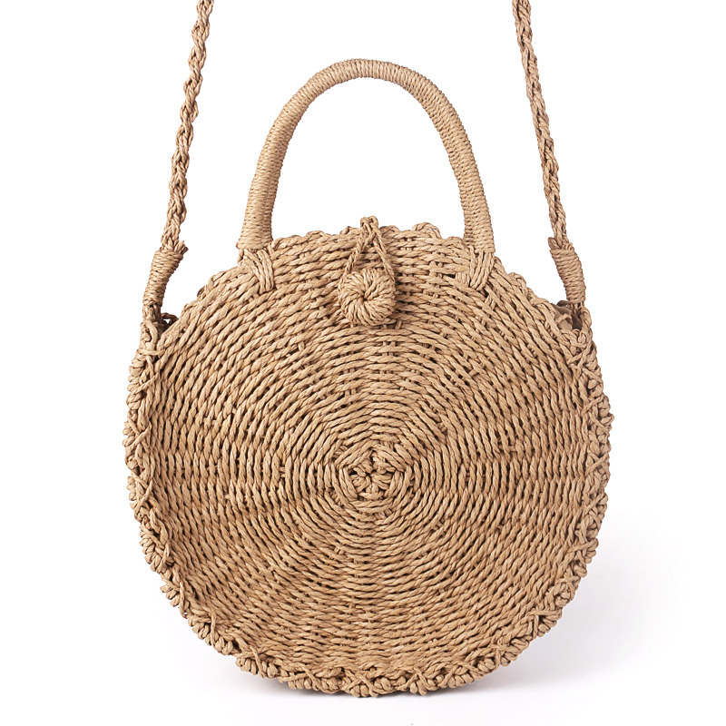 Handmade Rattan Woven Round Handbag Vintage Retro Straw Rope Knitted Messenger Bag Lady Fresh Paper Bag Summer Beach Tote