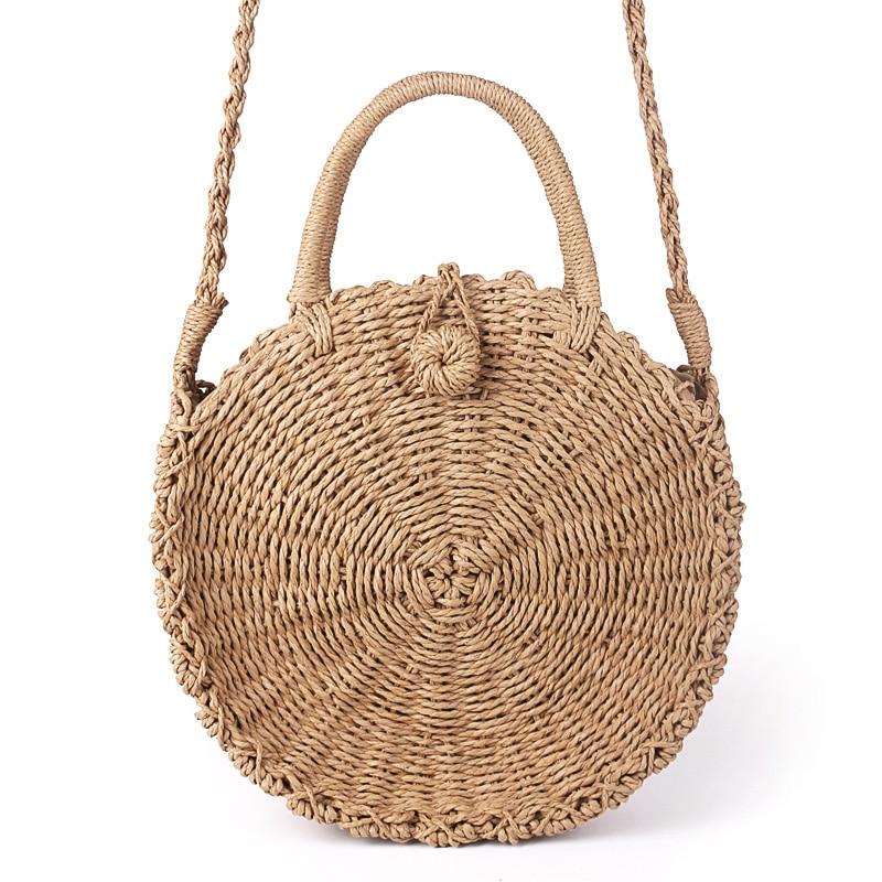 Handmade Rattan Woven Round Handbag Vintage Retro Straw Rope Knitted Messenger Bag Lady Fresh Paper Bag Summer Beach Tote