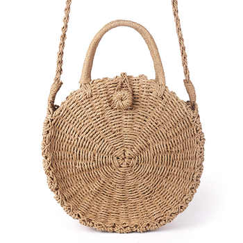 Handmade Rattan Woven Round Handbag Vintage Retro Straw Rope Knitted Messenger Bag Lady Fresh Paper Bag Summer Beach Tote - DISCOUNT ITEM  45% OFF All Category