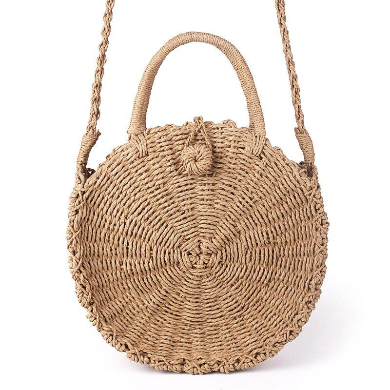Hecho a mano DE LA ROTA tejida ronda bolso Retro Vintage cuerda de paja bolsa de mensajero de punto señora bolsa de papel nuevo verano playa