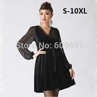 2013 Spring And Autumn Woman Basic Skirt Black Velvet Long Sleeve Women S Plus Size L