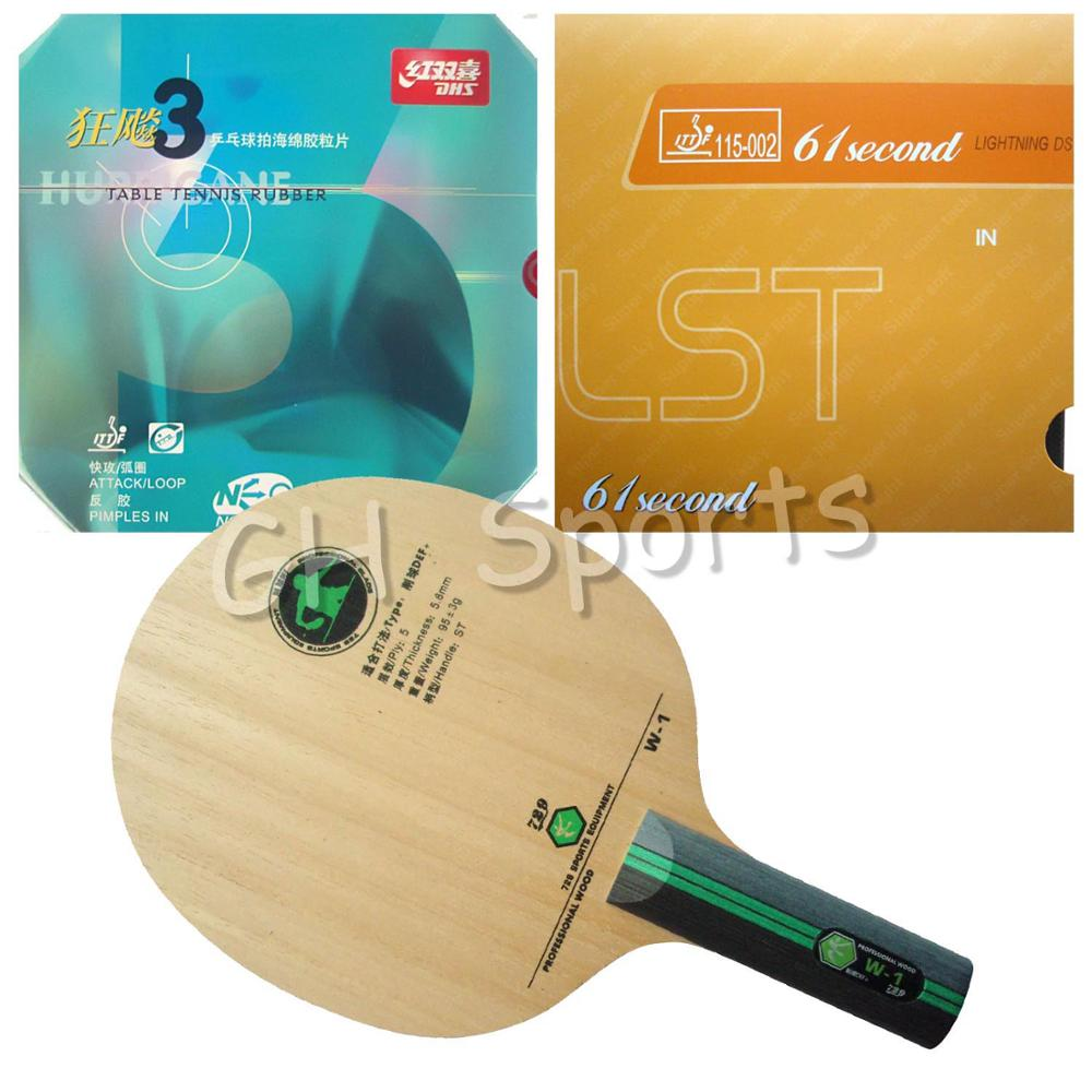 Pro Table Tennis PingPong Combo Racket RITC 729 W-1 Long Shakehand ST with 61second DS LST and DHS NEO Hurricane 3 ST original pro table tennis pingpong combo racket galaxy j 1 japanese penhold blade with 61second lightning ds lst rubber