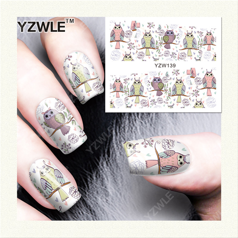 YZWLE 1 Sheet DIY Designer Nail Art Water Decals Transfer Stickers Cute Animal Owl Pattern Sticker
