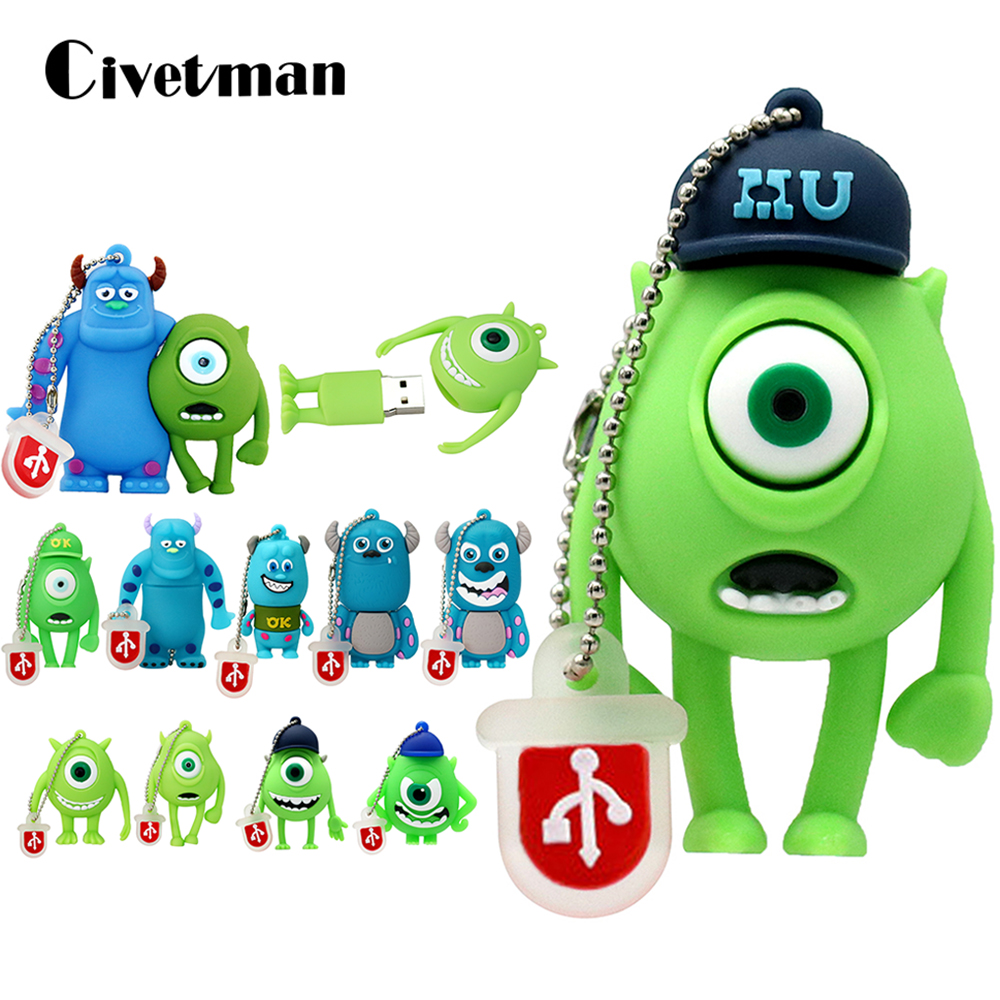 Pen Drive Cartoon Smile Cow Monster University USB Flash Drive 8GB 16GB 32GB 64GB 128GB Bulk USB 2.0 Flash Memory Stick Pendrive