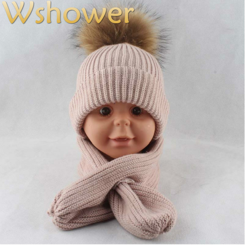 Children Winter Scarf Hat Set Kids Real Raccoon Fur Pompom Knitted Hats And Scarves For Girls Rabbit Fur Winter Hat Scarf Set