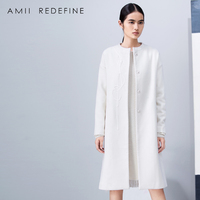 Amii Redefine Woolen Coat Winter Women 2018 Embroidery Paisley O neck Single Breasted Loose Casual Long Wool Blends Jacket Coat