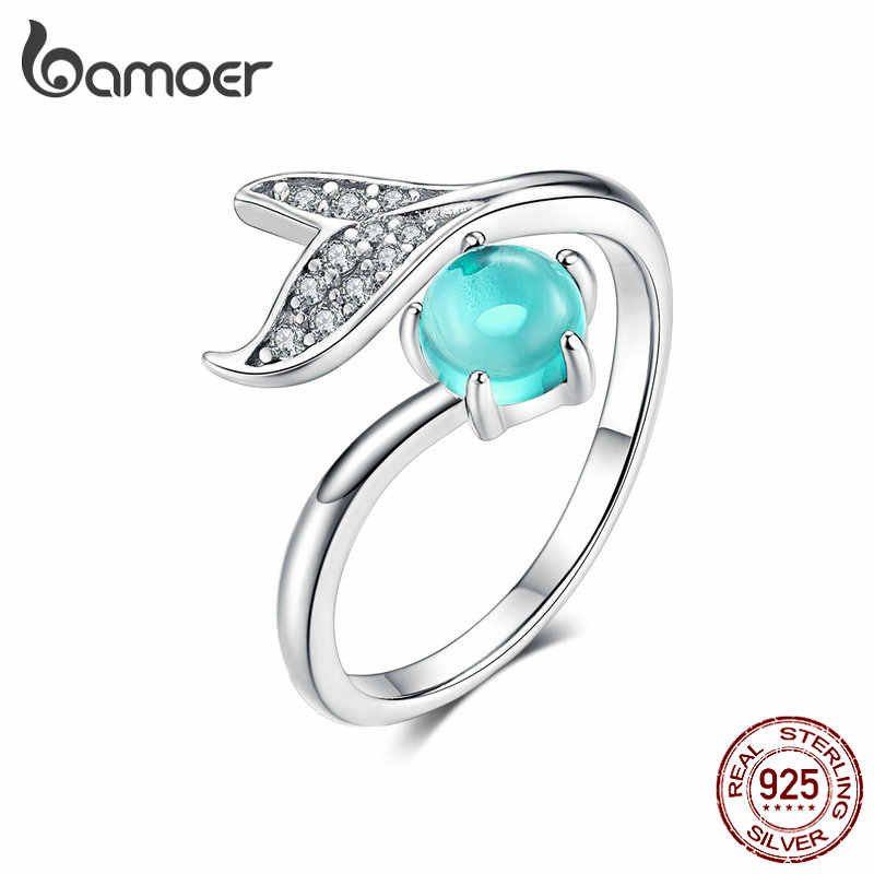 BAMOER Birthday Blooms Ring Mermaid Blue Stone Stackable Bubble Ring 100% 925 Sterling Silver Jewelry for Women SCR515