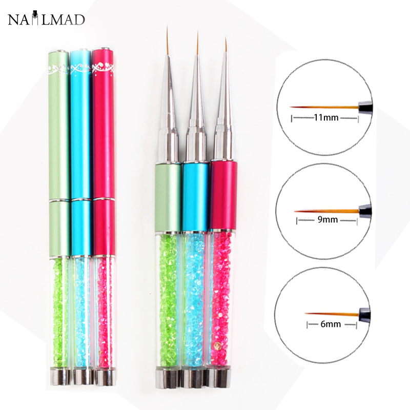 3pcs 6/9/11mm Nail Art Acrylic Brush UV Gel Polish Extension Carving Metal Rhinestone Painting Liner Drawing Pen
