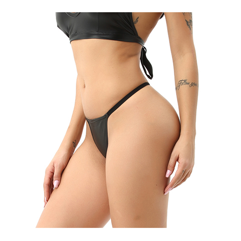 S 4XL PU Leather Thong Ladies Underwear Shiny G String Micro Mini Women Sexy Thong Erotic Lingerie Ladies T back Bikini Thong in women 39 s panties from Underwear amp Sleepwears
