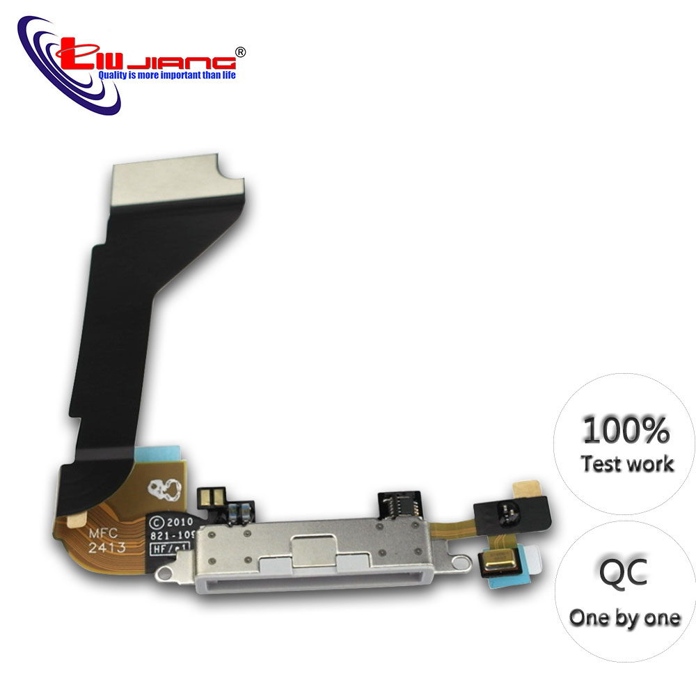 Original Charging Flex Cable For iPhone 4 4S USB Charger Port Dock Connector With Mic Flex Cable Replacement parts image
