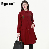 Ryeon Shirt Dress Embroidery Spring Autumn Vintage Long Sleeve Casual Shirt Pocket Retro Plus Size Dress