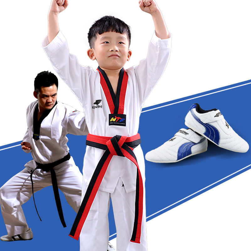 Other Fitness & Bodybuilding Products Discreet 100%cotton Taekwondo Dubok Children Adult Wtf Tkd Uniform Taekwondo Shoes Sport Sneaker Tae Kwon Do Protector Suite Black V-neck Selected Material Sports & Entertainment