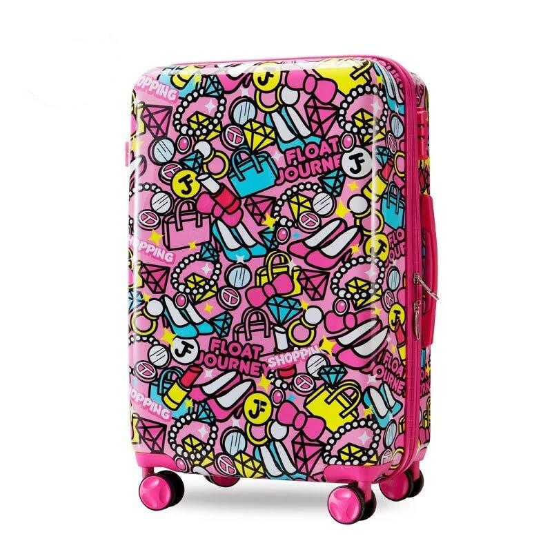 BeaSumore enfants roulant bagages Spinner 20 pouces enfants valise roues mignon dessin animé étudiants chariot 3D cabine école sac tronc-in Transporter-Ons from Baggages et sacs    1