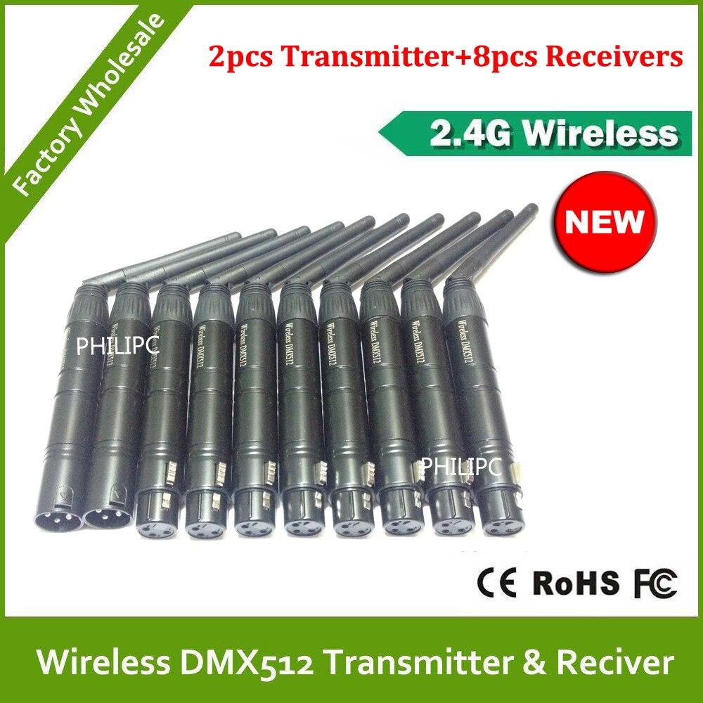 Best quality!! 10PCS/LOT 2.4Gwireless DMX 512 transmitter receiver signal stability led dmx controller disco lights dmx