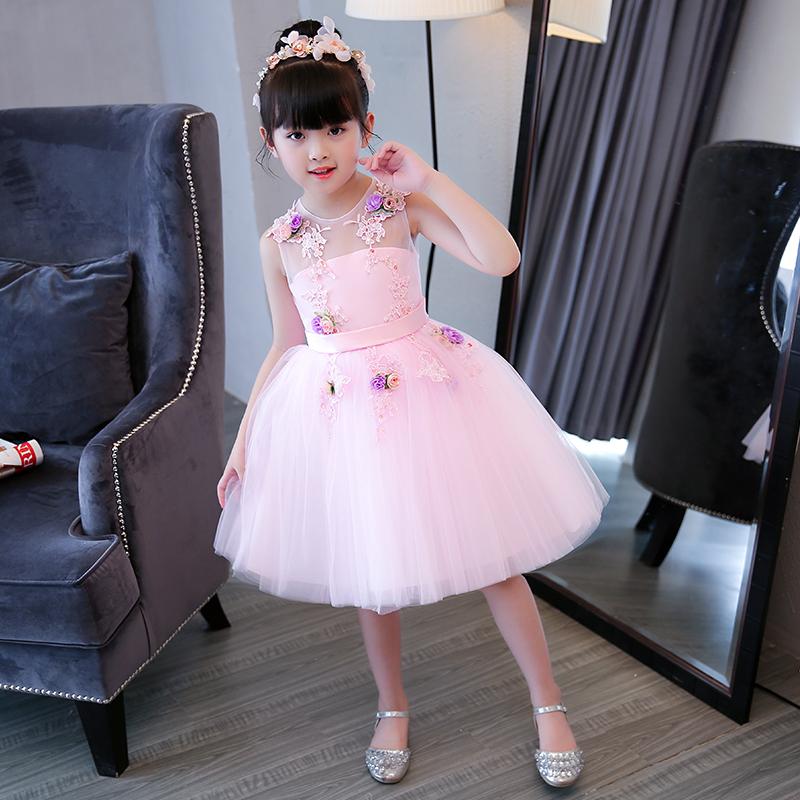 2styles Pink Zipper Flower Girl Dress Children Princess Girls Dresses Lace Appliques Ball Gown Kids Pageant Gown Party E294 luxury blue appliques girls pageant dresses ball gown children birthday wedding party dress teenage princess gown custom made