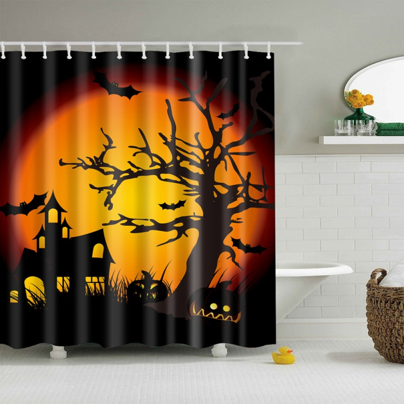 2017 Halloween Funny Polyester Shower Curtain 3D High definition Digital Witch Pumpkin Printing Curtain For Bathroom
