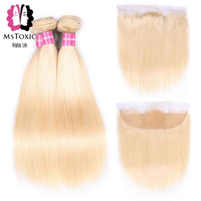 Mstoxic 613 Blonde Brazilian Straight Hair Bundles With Frontal Closure 100% Human Hair Weave Bundles Non Remy Hair Extensions