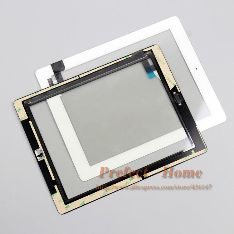 Prix pour Livraison Gratuite Par DHL! écran tactile en verre digitizer remplacement + colle adhésive bande 3 m avec bouton home pour ipad 2