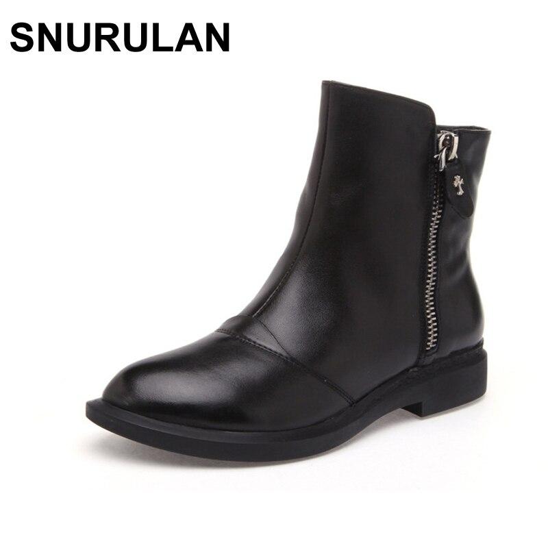 купить SNURULAN spring/autumn new fashion Side zipper Handmade genuine leather boots womens winter boots women Ankle boots women shoes по цене 2794.32 рублей