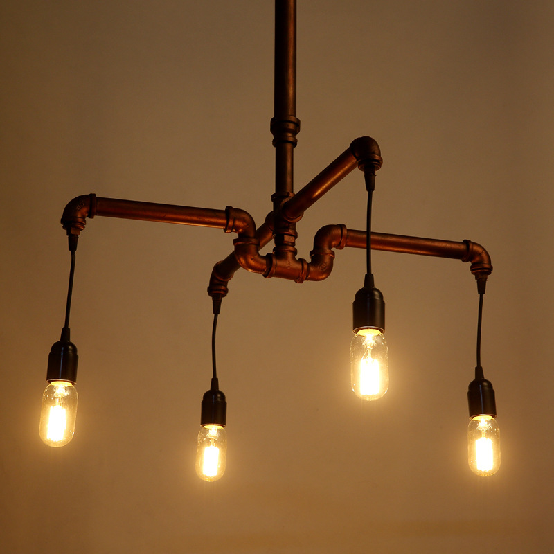 Retro Pendant Lamp Nordic Industrial LOFT IRON Pipe Pendant Light Hanging Lamp Decorative Lighting E27 Edison Bulb 4 Head WPL203 american loft vintage pendant light wrought iron retro hanging lamp edison nordic restaurant light industrial lighting fixtures