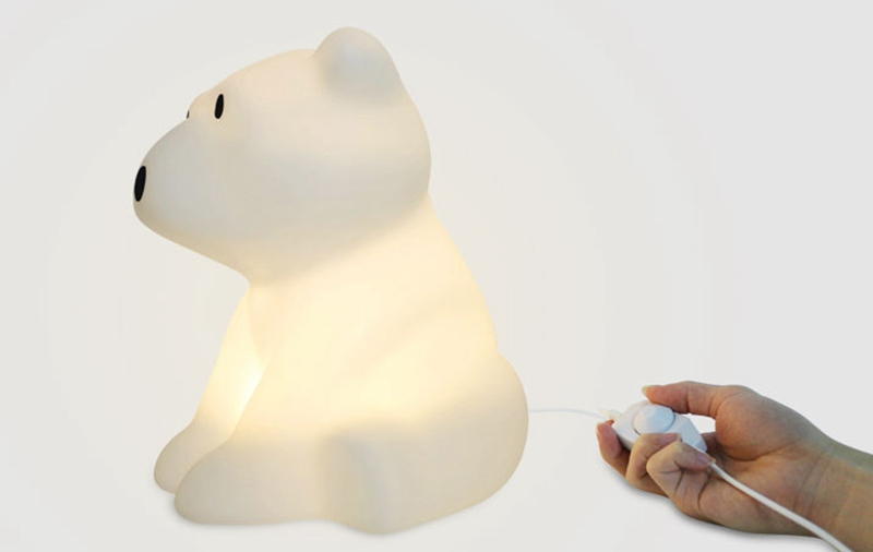 Polar Bear LED Night Light Swivel Dimmable Novel Gift for Kids Sleeping Warm White Baby Lamp Silicone Indoor Decoration Light (2)