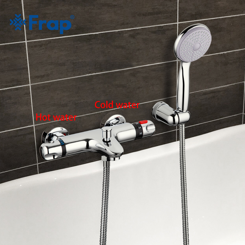 Frap 1 Set robinet thermostatique robinet de bain douche mitigeur eau froide et chaude nez court Double poignée F3051