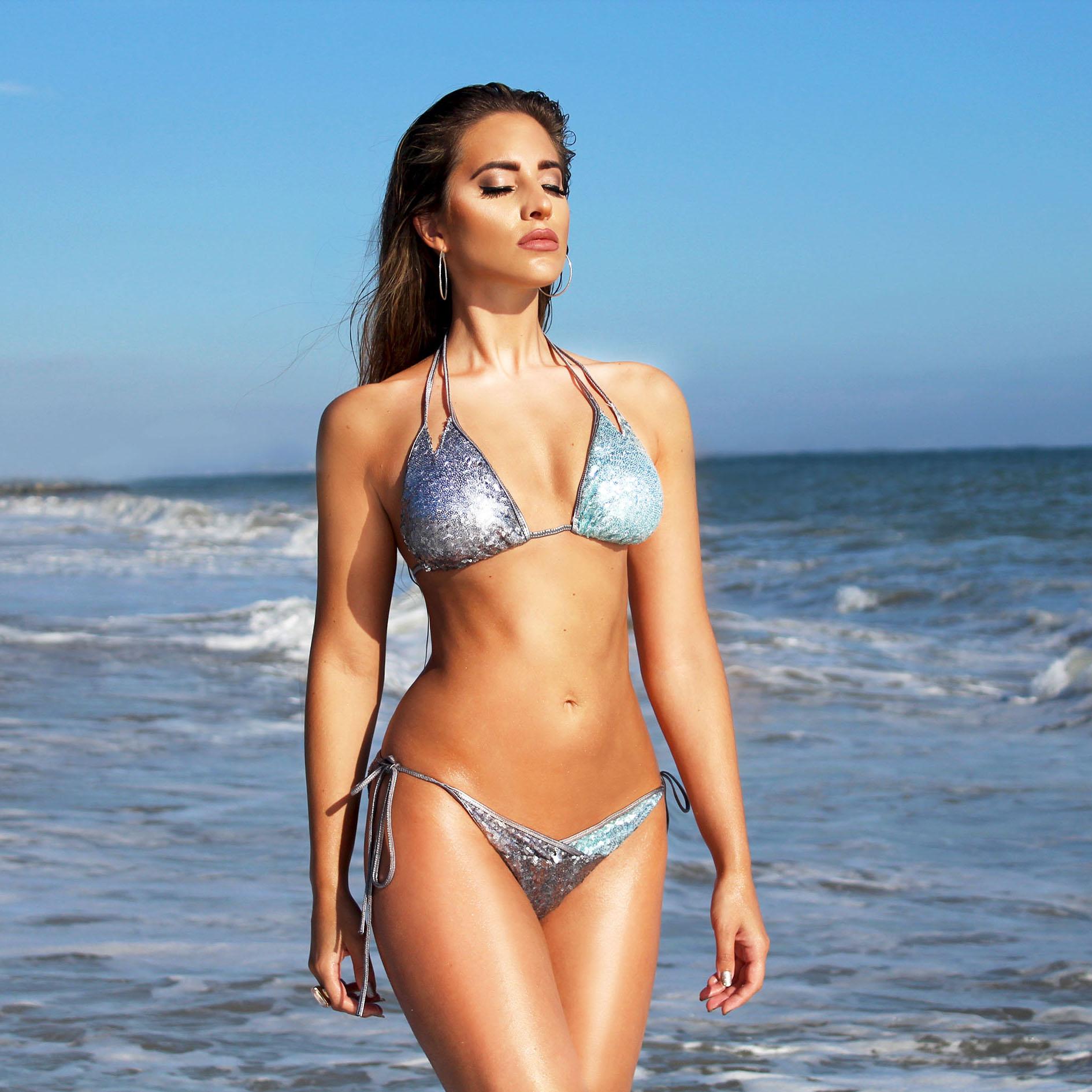 Black Friday Deals 2017 New Women Push-up Padded Bra Sequin Bandage Strap Bikini Set Swimsuit e Swimwear Bathing