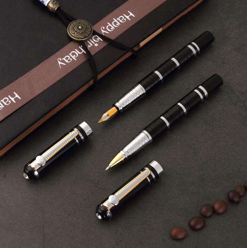 Free Shipping Luxury Metal Fountain Pen Nice Quality Crystal Business Pen School Students Writing Pen Buy 2 Pens Send Gift in Fountain Pens from Office School Supplies