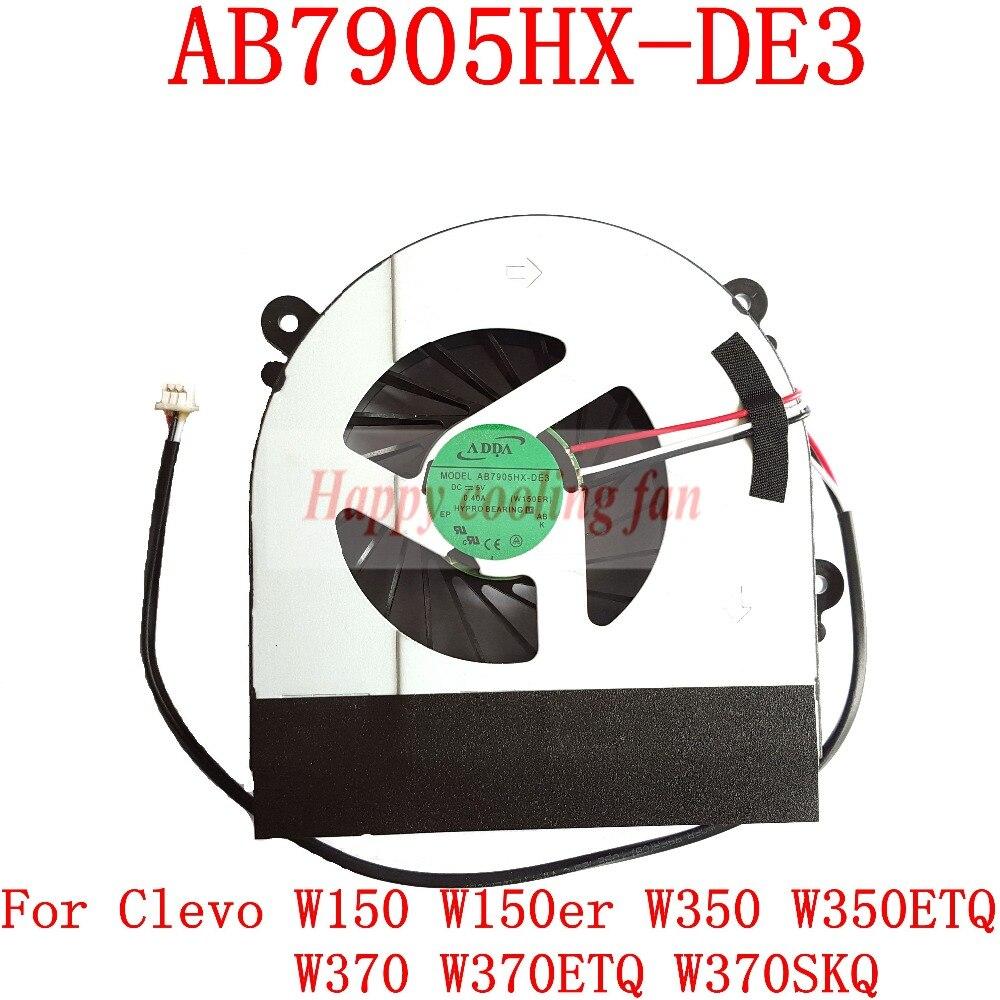New And Original AB7905HX-DE3  3pin  For Clevo W150 W150er W350 W350ETQ W370 W370ETQ W370SKQ  Laptop Cpu Cooling Fan