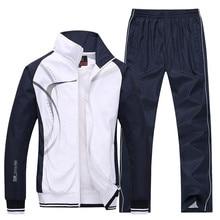 Mens Sportswear New Spring Autumn 2 Piece Sets Sports Suit Jacket+Pant Sweatsuit Male Print Clothing Tracksuit Size L 5XL