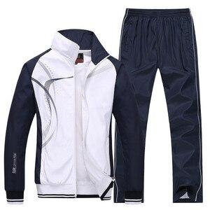 Image 1 - Mens Sportswear New Spring Autumn 2 Piece Sets Sports Suit Jacket+Pant Sweatsuit Male Print Clothing Tracksuit Size L 5XL