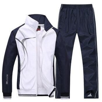 Men's Sportswear New Spring Autumn 2 Piece Sets Sports Suit Jacket+Pant Sweatsuit Male Print Clothing Tracksuit Size L-5XL