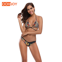 New Sexy Leopard Bikini Women Swimsuit Strappy Bandage Swimwear S-XL Backless Bathing Suit Low Waist Halter Mircro Bikini Set stylish halter strappy backless crochet underwire bikini set for women