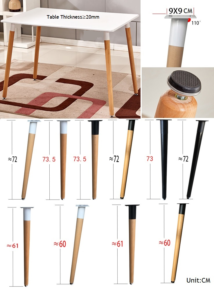 4Pcs/Lot Upstraight Inclined Solid Wood Beech Dinning Table Leg Breakfast Tapered Table Legs Universal Feet