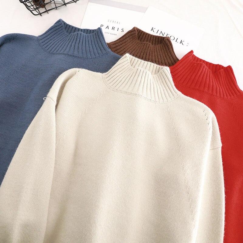 blue coffee Col red Coréen Beige La Longues Solide Roulé À 2018 Plus Manches Femmes Coton Casual Automne Taille Pull Qualité Hiver Haute Kint BFHqB1YwR