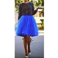 2016 Summer Blue Soft Tulle Lolita Girls Skirts Plus Size S M L XL XXL 3XL