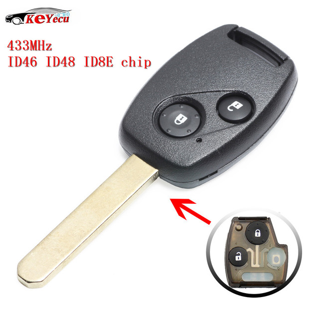 US $12 9 |KEYECU 2 Button Replacement Remote Key 433MHz With Selectable  ID8E ID46 ID48 Chip for Honda Accord Jazz CR V FR V Odyssey -in Car Key  from