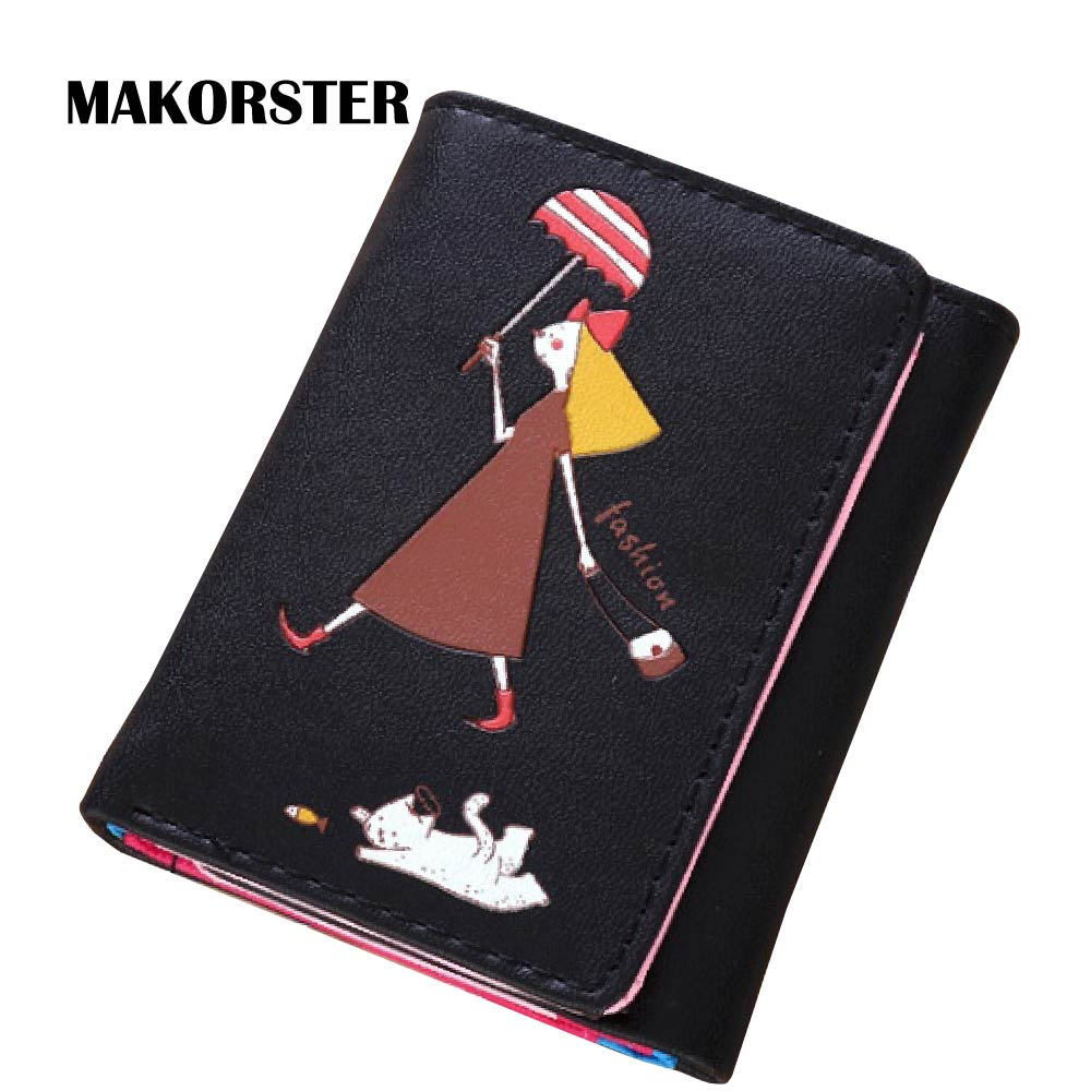 MAKORSTER Cat pattern Card Holder Wallets Female Wallet for Women Leather Purse Bag womens wallets and purses Carteira MK235 never leather badge holder business card holder neck lanyards for id cards waterproof antimagnetic card sets school supplies