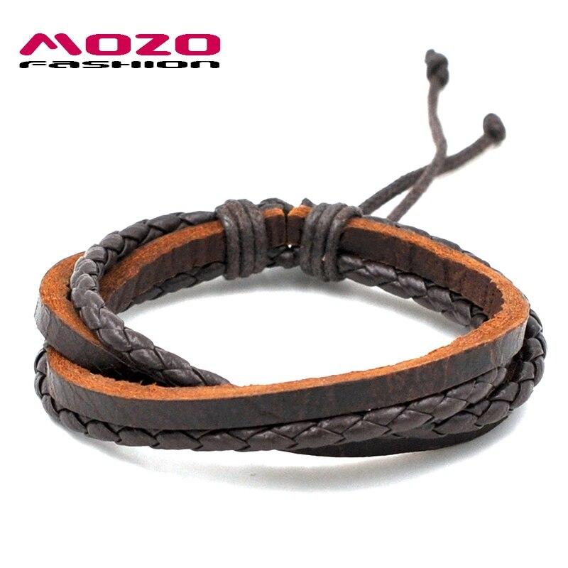 MOZO FASHION Men Women Wrap Bracelet Multilayer Leather Rope Chain Bracelet Vintage Handmade Braided Bracelet Hot Jewelry PS0024 ...