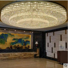 L Large hotel engineering crystal ceiling lamp custom round living room hotel hall hall lighting sales department sand table lam cheap Ceiling Lights LED Bulbs 90-260V Stainless Steel Surface mounted Contemporary Wedge 20 Knob switch Foyer Bathroom Bed Room
